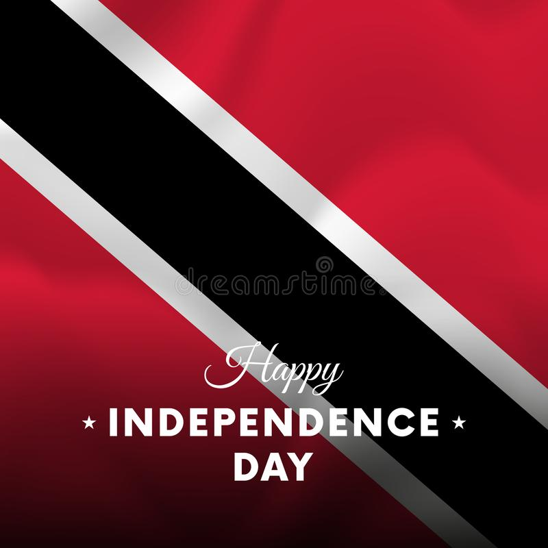 Bandera o cartel de la celebración del Día de la Independencia de Trinidad and Tobago Indicador que agita Ilustración del vector libre illustration