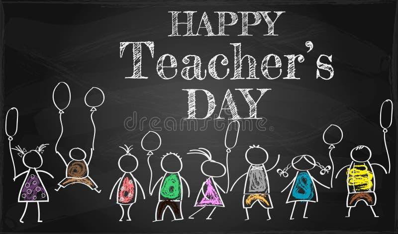 bandera o cartel para el día feliz del ` s del profesor con agradable y creativo ilustración del vector