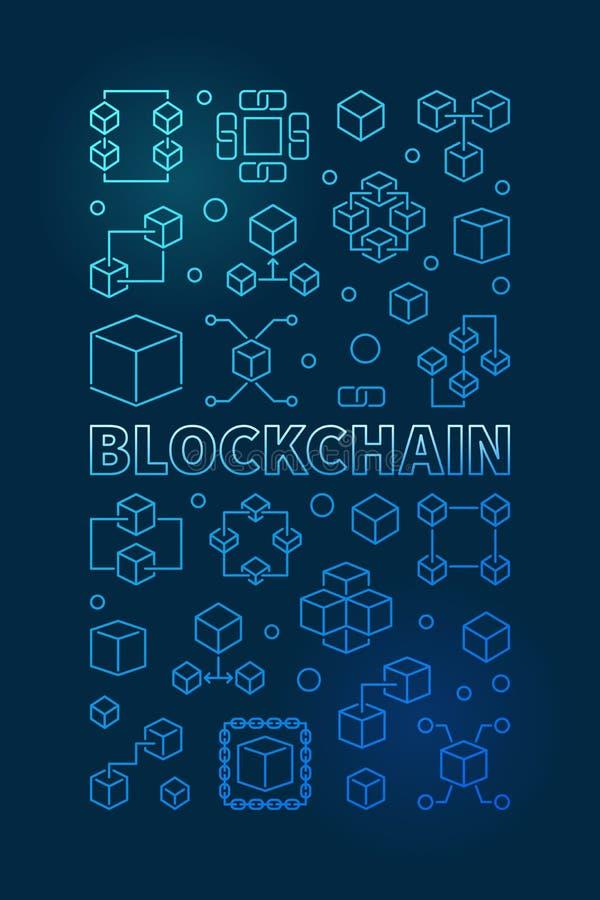 Bandera o cartel vertical azul del esquema de la tecnología de Blockchain libre illustration