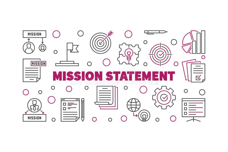 Bandera o ejemplo del esquema del vector de la declaración de misión libre illustration