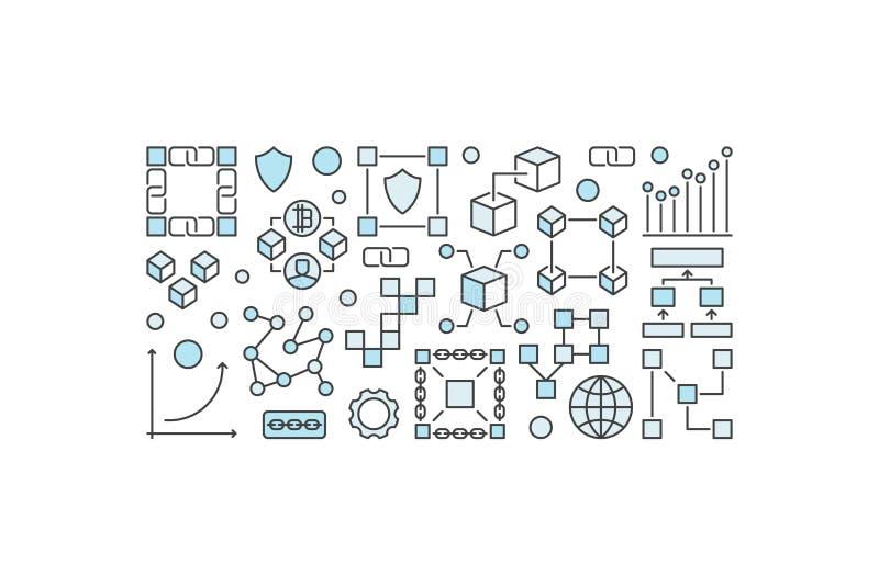Bandera o ejemplo moderna de Blockchain en el fondo blanco ilustración del vector