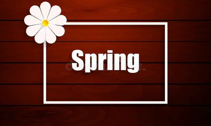 Bandera o etiqueta de la plantilla del diseño de la venta de la primavera en fondo de madera libre illustration