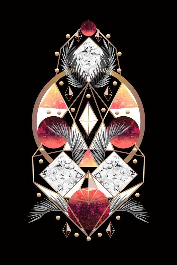 Bandera o impresión del diseño del extracto de la simetría con las hojas de palma y los triángulos Vector ilustración del vector