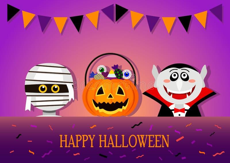 Bandera o invitación congratulatoria del feliz Halloween ilustración del vector