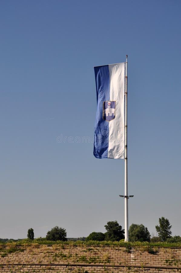 Bandera oficial de la ciudad de Osijek, Croacia foto de archivo libre de regalías