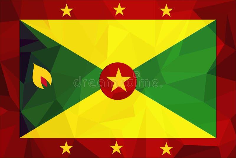Bandera oficial nacional granadina Símbolo patriótico, bandera, elemento, fondo Dimensiones exactas Bandera de Grenada en s corre ilustración del vector