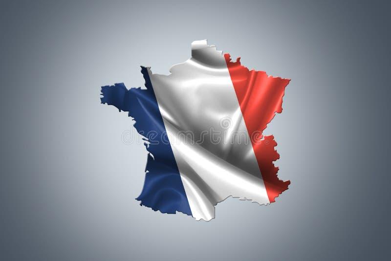 Bandera ondulada de Francia ilustración del vector