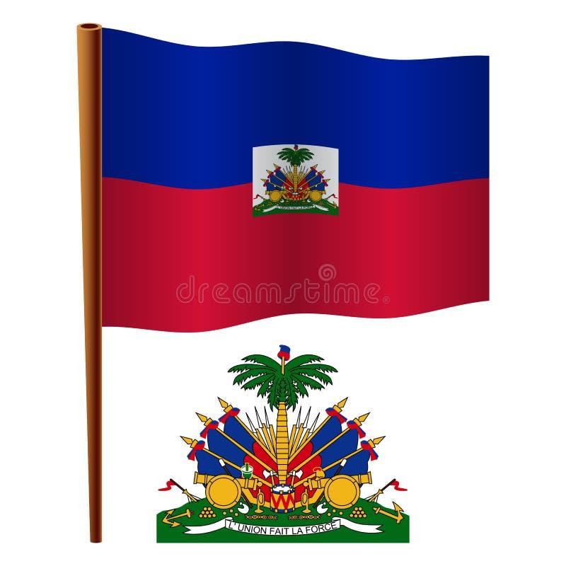 Bandera ondulada de Haití stock de ilustración