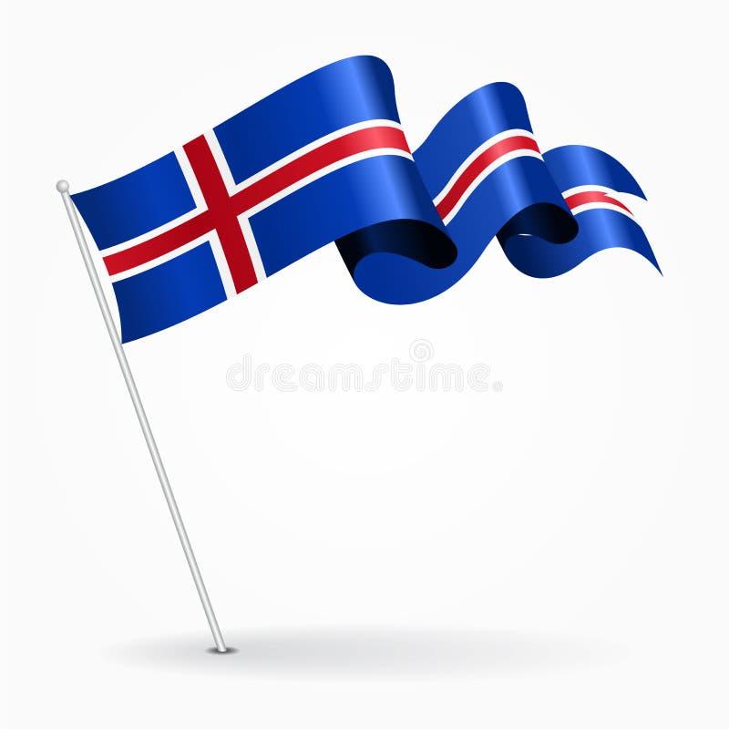Bandera ondulada del perno islandés Ilustración del vector stock de ilustración