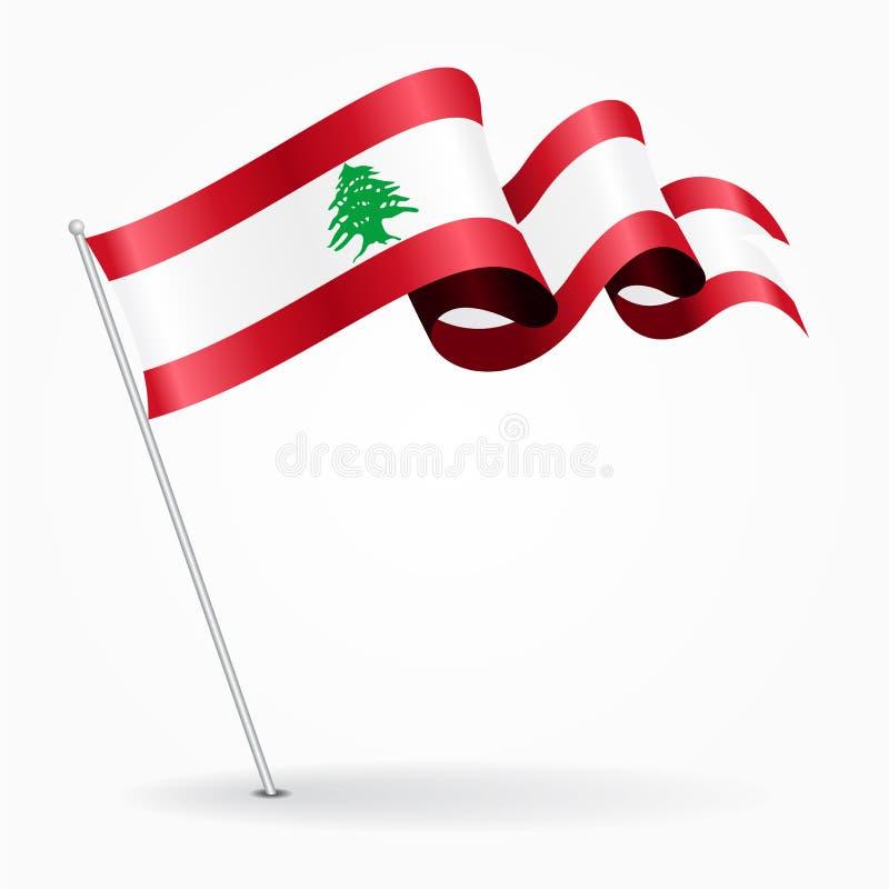 Bandera ondulada del perno libanés Ilustración del vector libre illustration