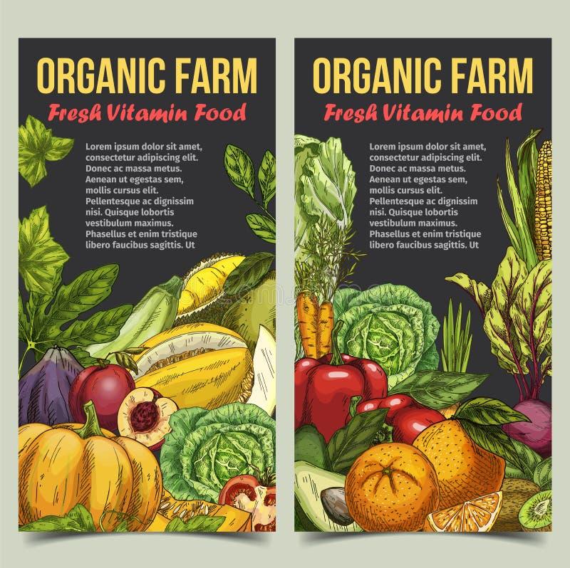 Bandera orgánica del mercado con las frutas y verduras stock de ilustración