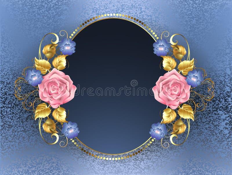 Bandera oval con las rosas rosadas stock de ilustración