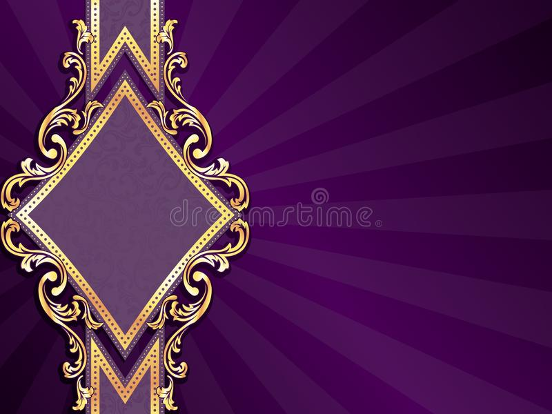 Bandera púrpura de forma diamantada horizontal stock de ilustración