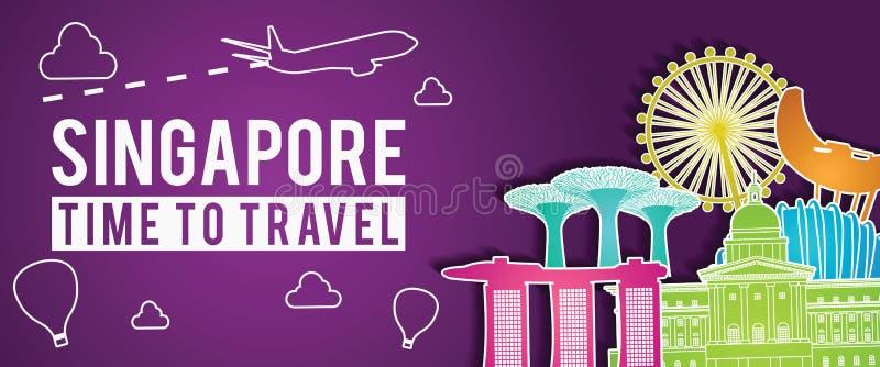 Bandera púrpura de la mosca colorida del estilo, del avión y del globo de la silueta famosa de la señal de Singapur alrededor con ilustración del vector