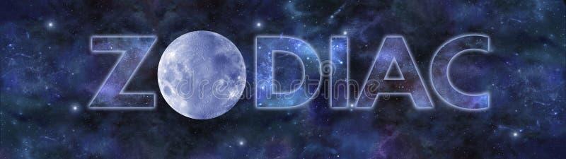 Bandera panorámica del planetario del zodiaco imagen de archivo