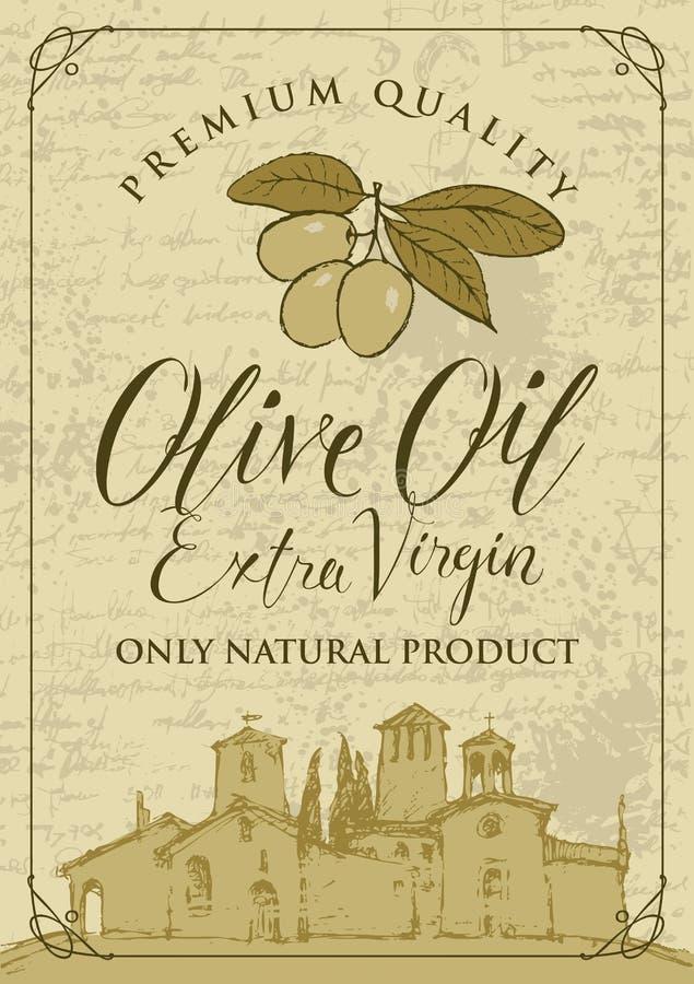 Bandera para el aceite de oliva con paisaje del campo ilustración del vector