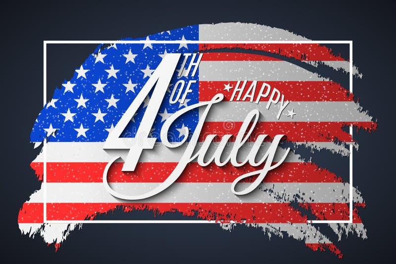Bandera para el Día de la Independencia Tarjeta de felicitaci?n para el 4 de julio Cepillo del Grunge en marco Bandera del texto  imagen de archivo libre de regalías