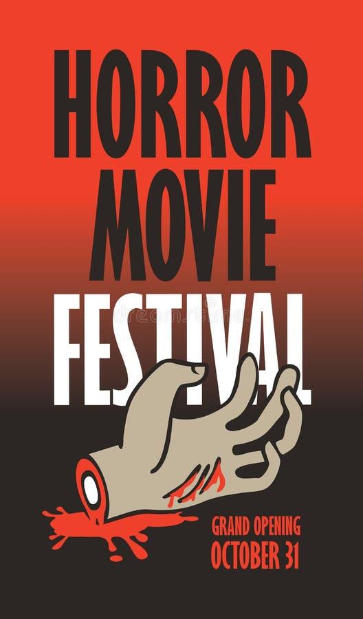 Bandera para el festival de la película de terror, cine asustadizo ilustración del vector