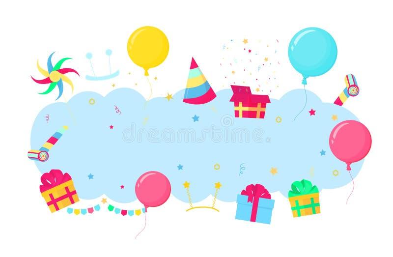 Bandera para el partido, cumpleaños, saludo, tarjeta de la invitación Caja con el regalo, bolas, sombrero rayado, confeti, molini stock de ilustración