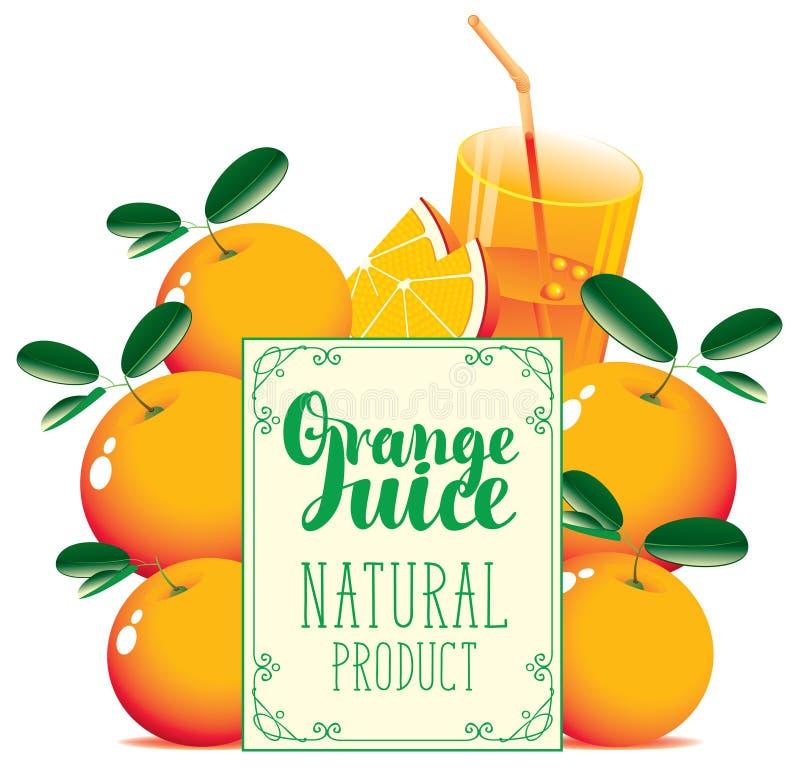 Bandera para el zumo de naranja con las naranjas y el vidrio stock de ilustración