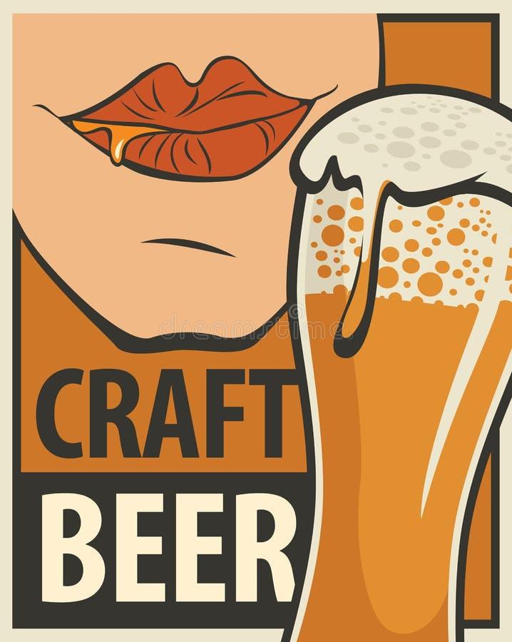 Bandera para la cerveza del arte con el vaso de cerveza libre illustration