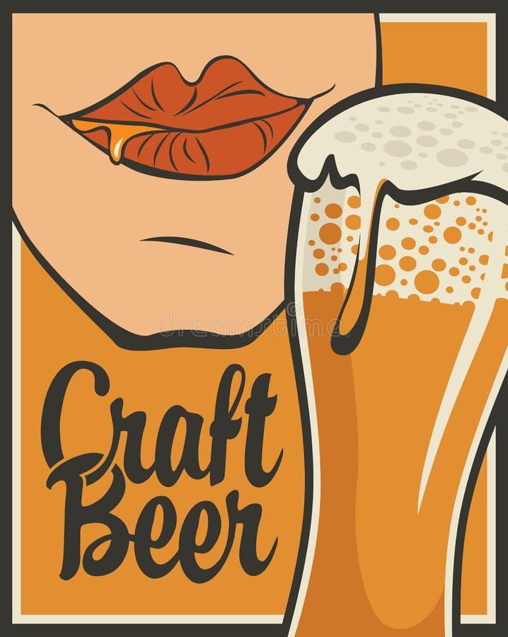 Bandera para la cerveza del arte con el vaso de cerveza stock de ilustración