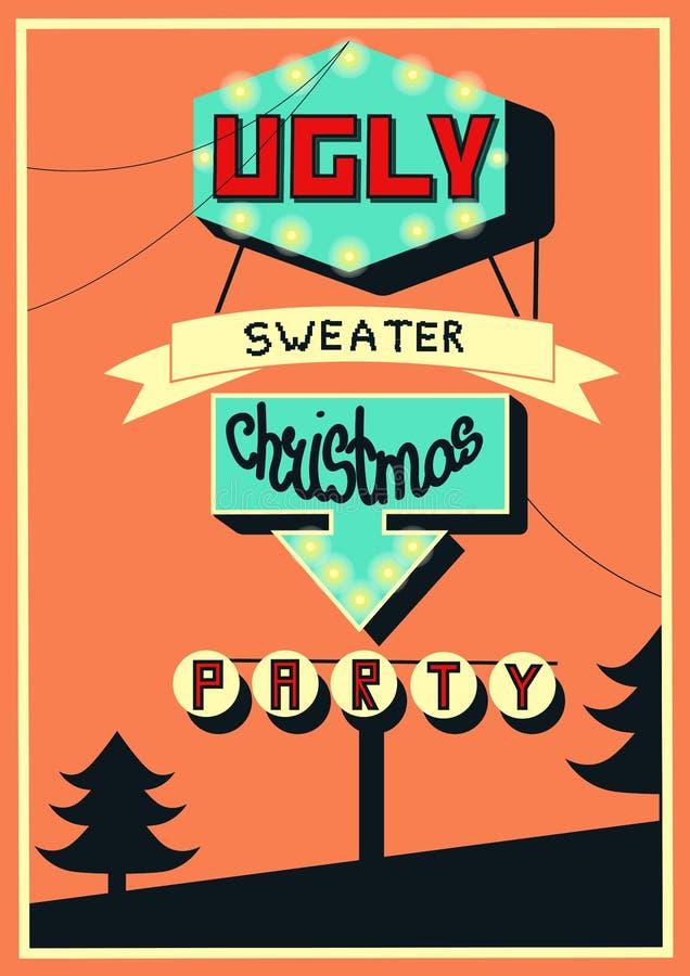 Bandera para la fiesta de Navidad fea del suéter, ejemplo exhausto del vector de la mano perfomed en estilo retro stock de ilustración