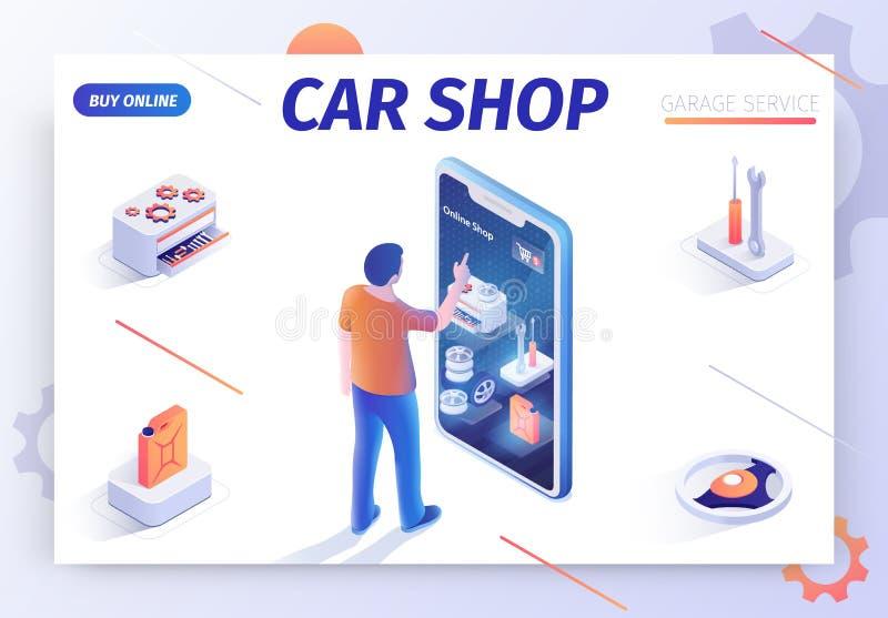 Bandera para las mercancías de ofrecimiento de la compra de la tienda del coche en línea libre illustration