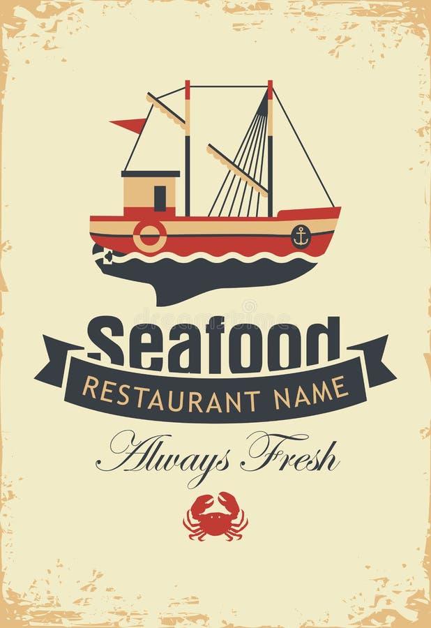 Bandera para los mariscos con el barco y el cangrejo de pesca stock de ilustración