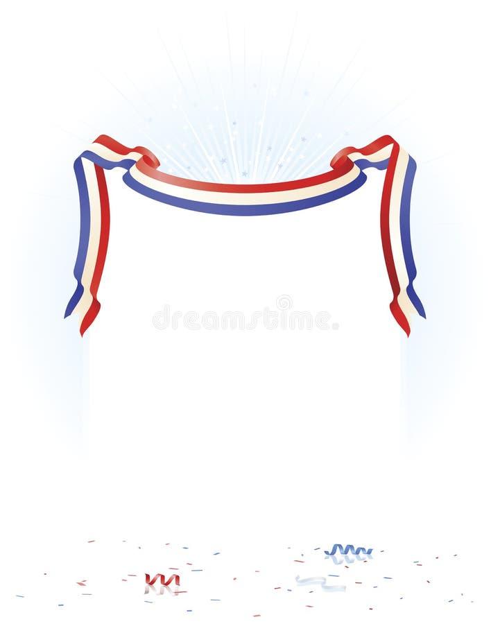 Bandera patriótica con la explosión y el confeti ilustración del vector
