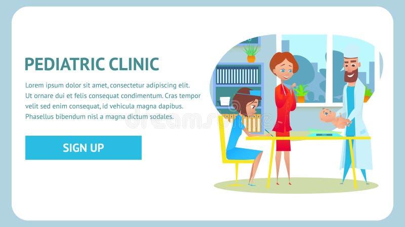 Bandera pediátrica del chequeo de la clínica Pesaje del bebé ilustración del vector