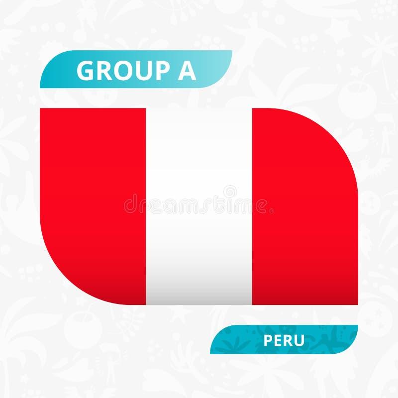 Bandera peruana del equipo, hecha en estilo de la competencia del fútbol ilustración del vector