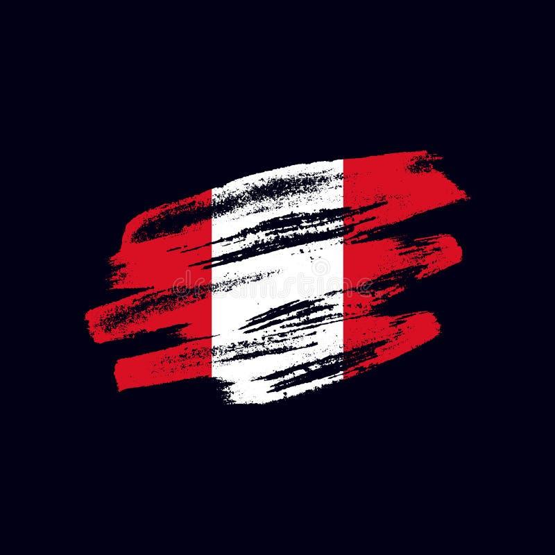Bandera peruana texturizada Grunge ilustración del vector