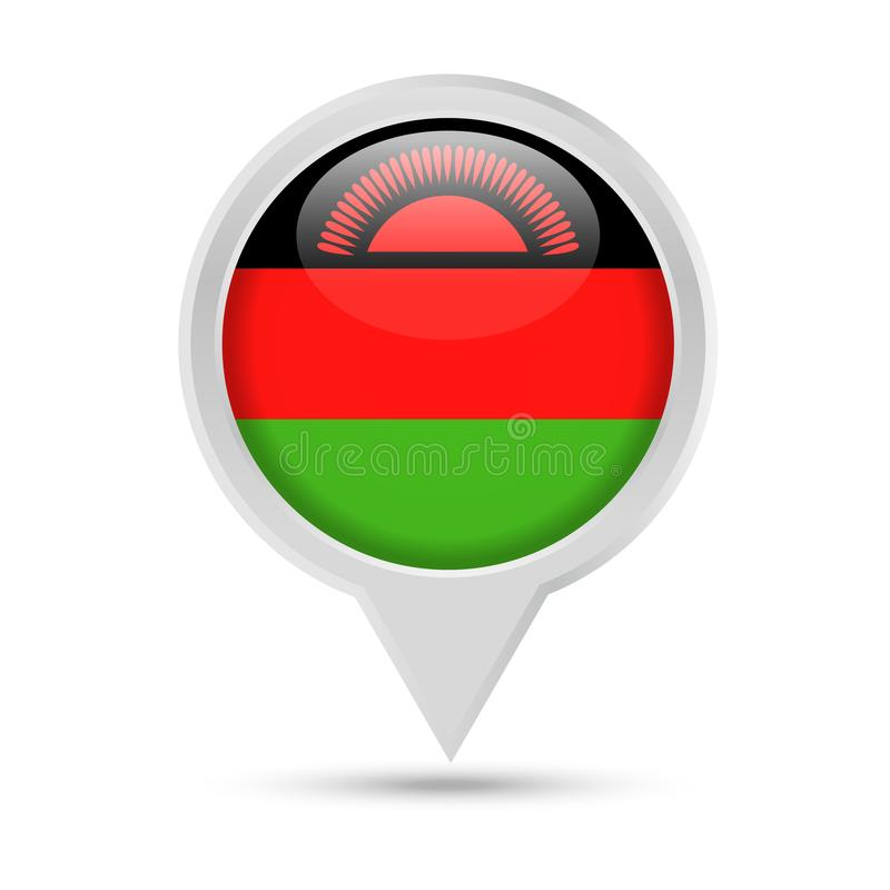 Bandera Pin Vector Icon redondo de Malawi libre illustration