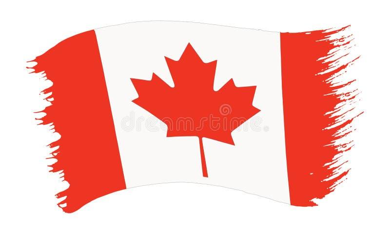 Bandera pintada pincelada de Canadá libre illustration