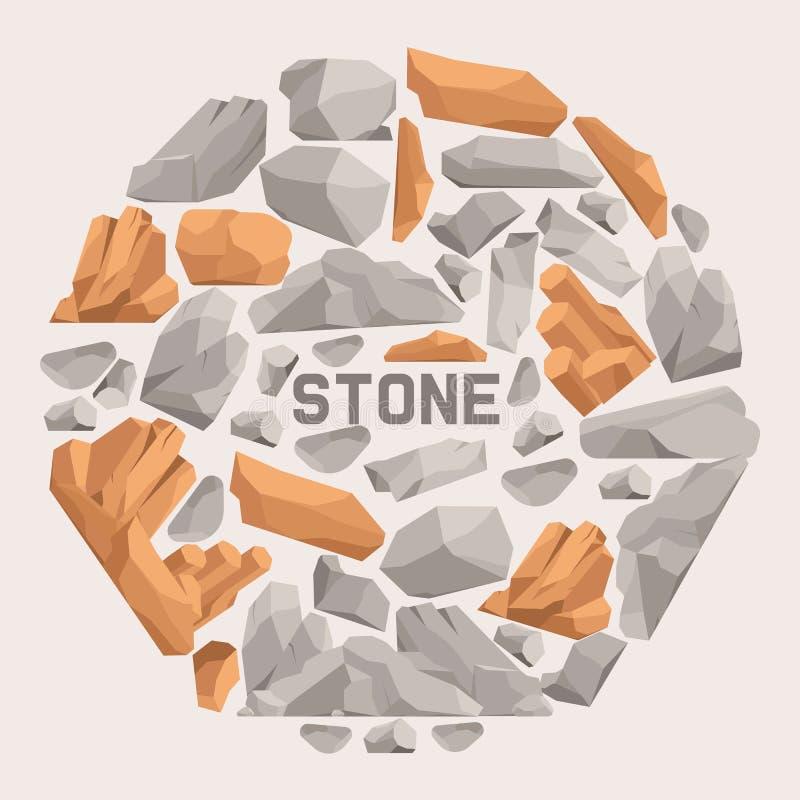 Bandera plana de la historieta de las piedras de la roca Piedras y rocas en el ejemplo isométrico del vector del estilo 3d Fije d stock de ilustración