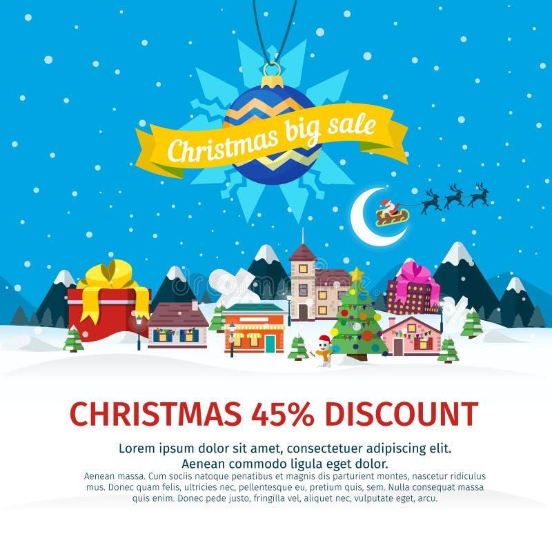 Bandera plana de la venta grande de la Navidad Vector el ejemplo para el sitio web, anuncios, banderas stock de ilustración