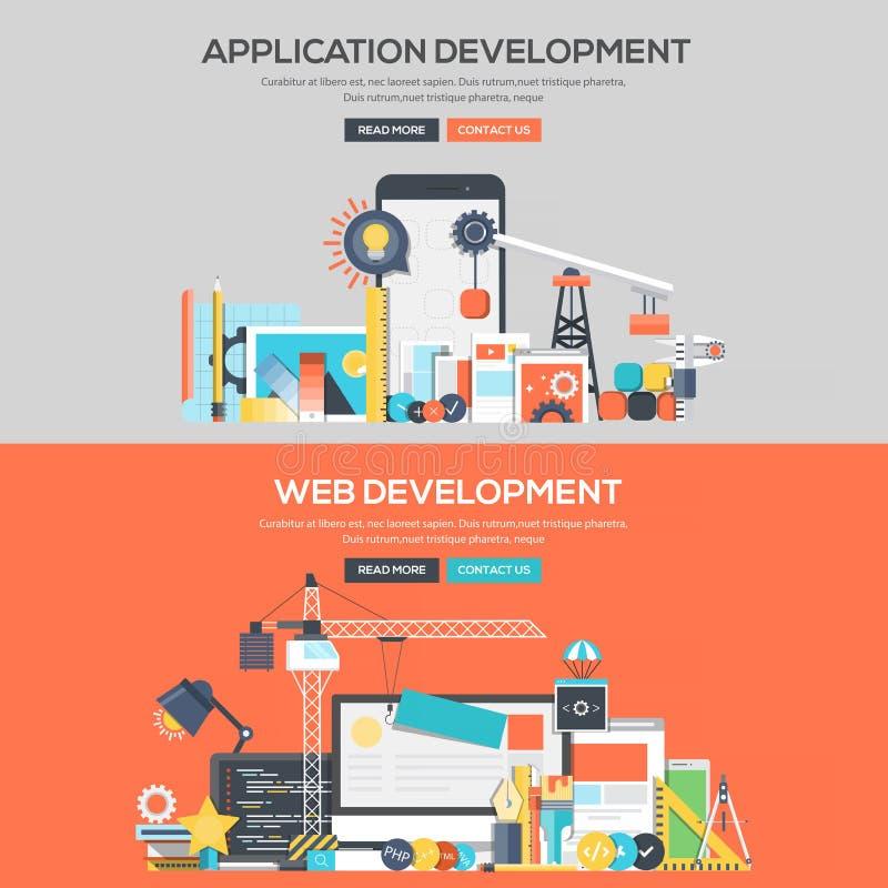 Bandera plana del concepto de diseño - desarrollo de aplicaciones y web stock de ilustración