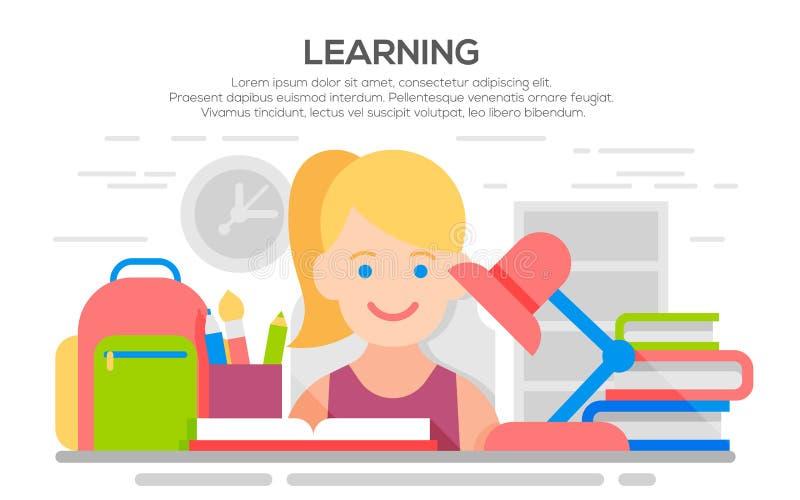 Bandera plana del diseño para la educación, proceso de aprendizaje stock de ilustración