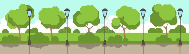 Bandera plana del fondo de la plantilla de los árboles del césped del verde de la lámpara de calle del parque de la ciudad ilustración del vector