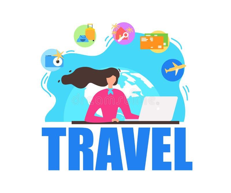 Bandera plana del vector de servicios de la agencia de viajes libre illustration