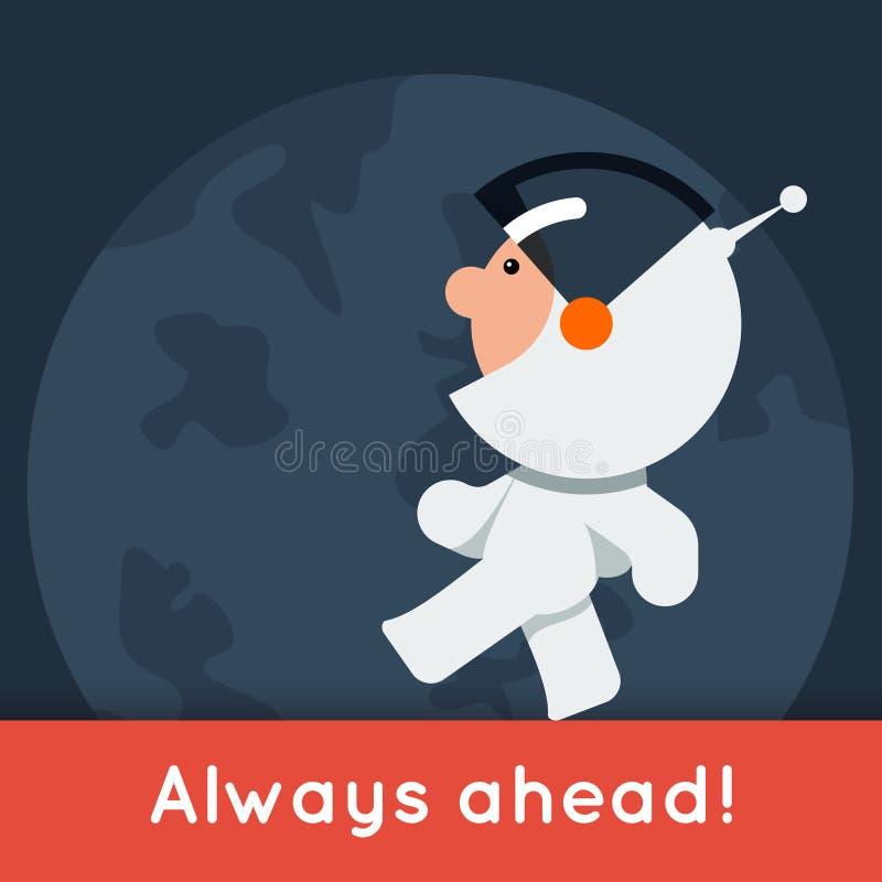 Bandera plana del vector del estilo con el pequeño astronauta divertido que camina en la tierra libre illustration