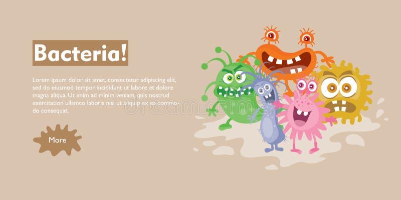 Bandera plana del web del vector de la historieta de las bacterias stock de ilustración