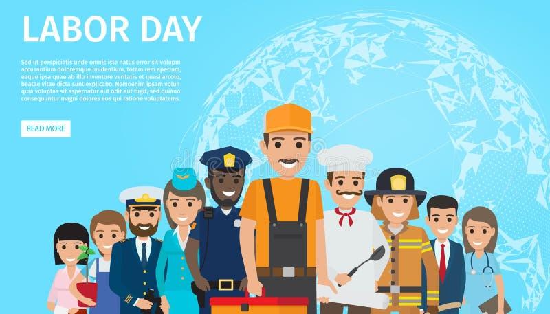 Bandera plana del web del vector del Día del Trabajo con profesiones libre illustration