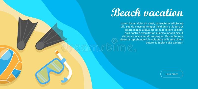 Bandera plana del web del vector del diseño de las vacaciones de la playa libre illustration