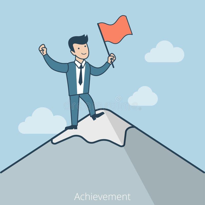 Bandera plana linear de la montaña del hombre de negocios del logro ilustración del vector