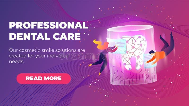 Bandera plana profesional del cuidado dental de la inscripción stock de ilustración