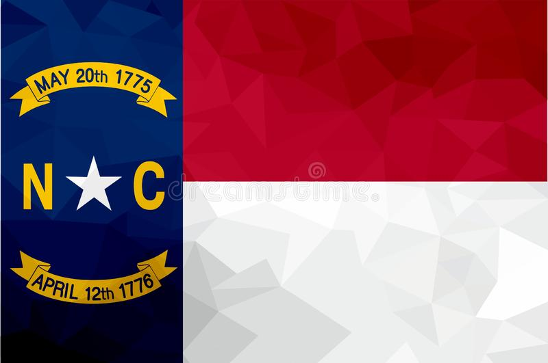 Bandera poligonal de Carolina del Norte Fondo moderno del mosaico Diseño geométrico libre illustration