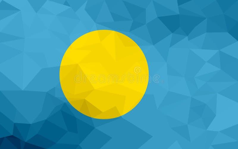 Bandera poligonal de Palau Fondo moderno del mosaico Diseño geométrico stock de ilustración