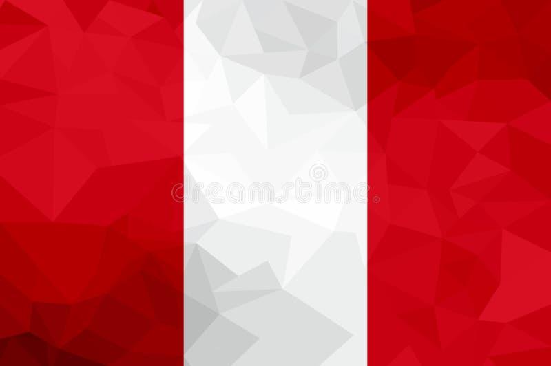 Bandera poligonal de Perú Fondo moderno del mosaico Diseño geométrico stock de ilustración